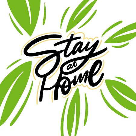 Stay At Home. Hand written lettering phrase. Colorful vector illustration. Isolated on white background. Ilustracja