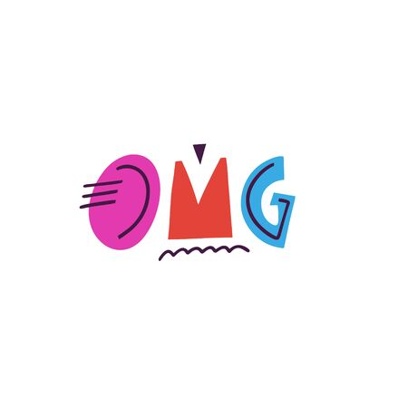 Omg lettering. Kids phrase. Modern typography. Colorful vector illustration. Isolated on white background. Design for gift cards, poster, t-shirt and banner.