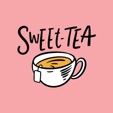 Sweet Tea lettering. Modern Typography. Vector illustration. Isolated on soft pink background. Design for gift cards, poster, t-shirt and banner. 일러스트