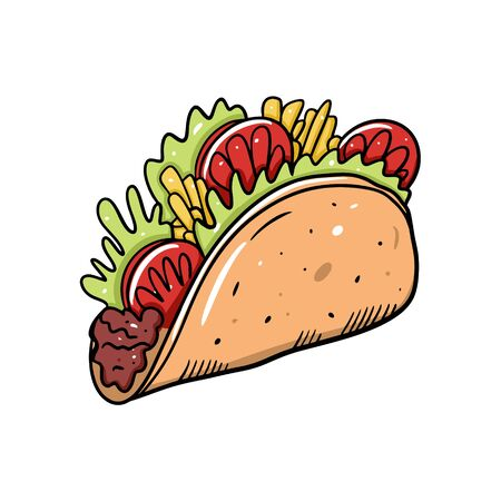 Taco mexican food. FLat vector illustration. Cartoon style. Isolated on white background. Design for poster, banner, menu, cafe and web.