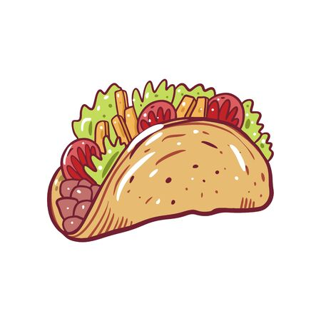 Taco vector illustration. Mexican food. Cartoon style. Isolated on white background. Design for poster, banner, menu, cafe and web.