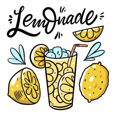 Lemonade lettering phrase and fresh summer drink. Colorful vector illustration. Isolated on white background. Design for poster, banner, print and web.