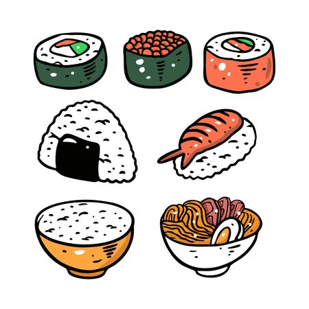 Different asian food set. Colorful flat vector illustration. Isolated on white background. Design for poster, banner, print and web.