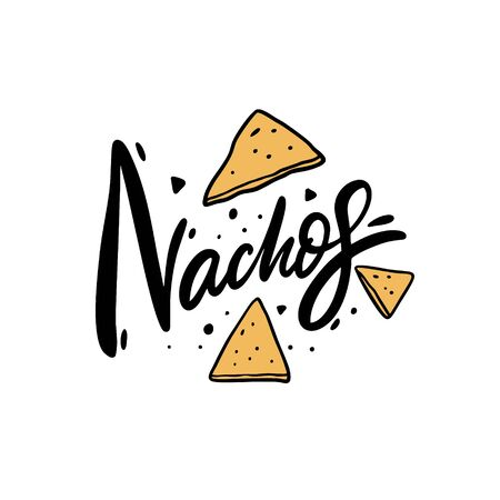 Nachos lettering. Cartoon style vector illustration. Isolated on white background. Design for poster, banner, print and web. Vecteurs