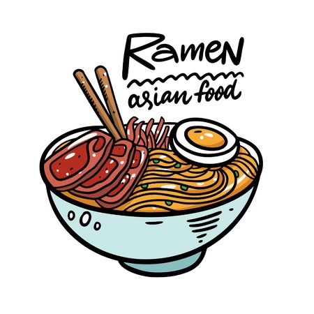 Japanese Ramen. Asian soup. Cartoon style vector illustration. Isolated on white background. Design for poster, banner, print and web.