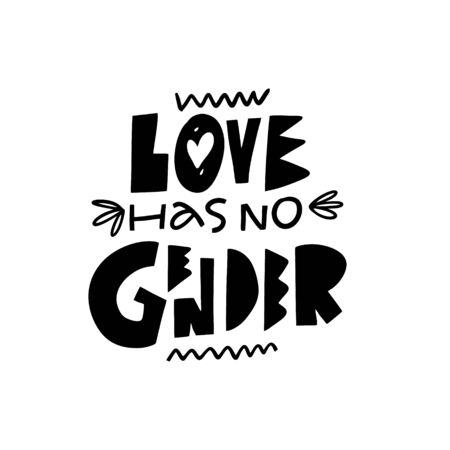 Love has no gender. LGBT lettering phrase. Black color vector illustration. Isolated on white background. Design for poster, banner, print and web.