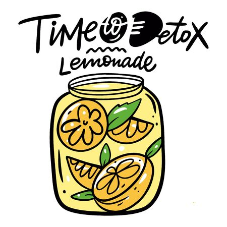 Detox Lemonade. Colorful vector illustration. Isolated on white background. Design for poster, banner, print and web.  イラスト・ベクター素材
