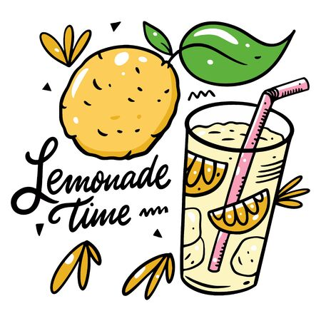 Lemonade in glass cup and whole lemon. Lemonade time lettering phrase. Colorful vector illustration. Isolated on white background. Design for poster, banner, print and web.