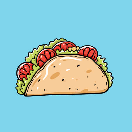 Taco Mexican street food. Flat Cartoon style. Isolated on blue background.  イラスト・ベクター素材