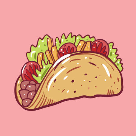 Taco Mexican food. Cartoon style. Flat vector illustration. Isolated on soft pink background.