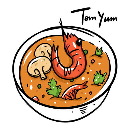 Tom Yum with shrimp. Cartoon vector illustration. Isolated on white background. Иллюстрация