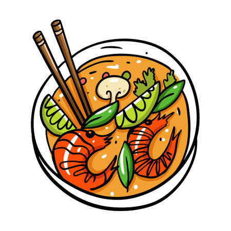 Tom Yum Thai food. Cartoon vector illustration. Isolated on white background.