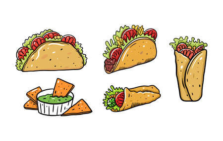 Mexican food set. Burrito, taco and nachos. Cartoon vector illustration. Isolated on white background.