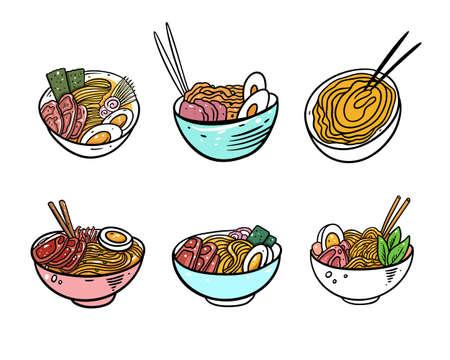 Ramen Japanese Noodle set. Flat vector illustration. Isolated on white background.