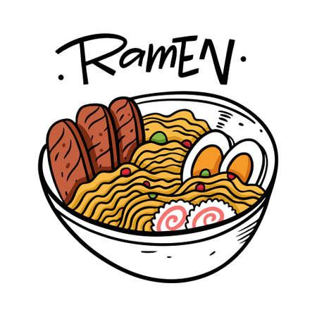 Ramen Japanese food. Cartoon style vector illustration. Isolated on white background.