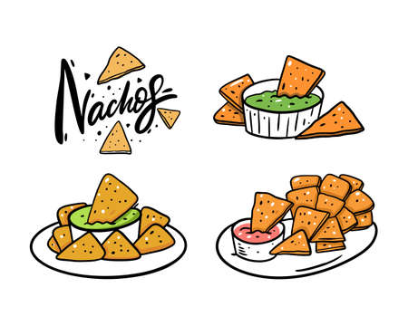 Nachos mexican food set. Lettering and vector illustration. Isolated on white background.