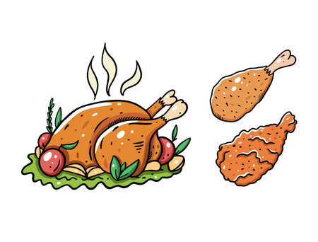 Chicken whole and leg. Cartoon vector illustration. Isolated on white background.  イラスト・ベクター素材