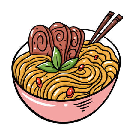 Japanese Meat Noodles. Cartoon style vector illustration. Isolated on white background.  イラスト・ベクター素材