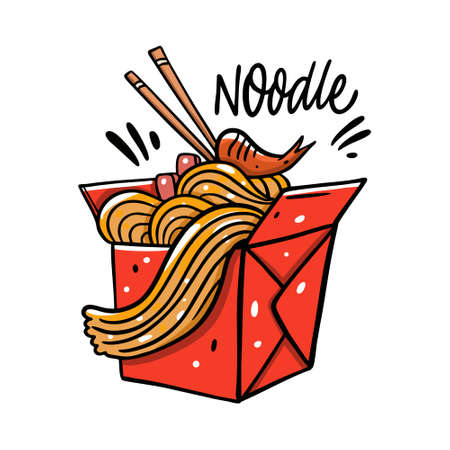 Asian Noodle in red box. Cartoon vector illustration. Isolated on white background.