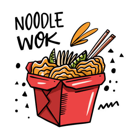 Noodle wok hand drawn lettering and red box. Cartoon vector illustration. Isolated on white background. Design for poster, banner, menu, cafe and web. 矢量图像