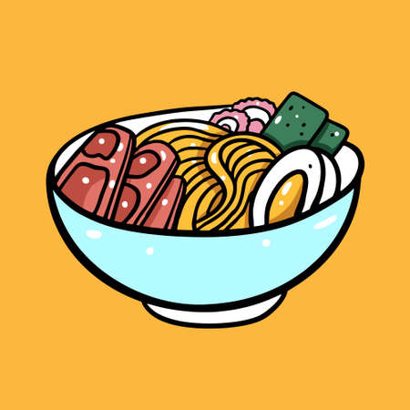 Ramen asian food. Cartoon style vector illustration. Isolated on yellow background. Design for poster, banner, print and web. 矢量图像