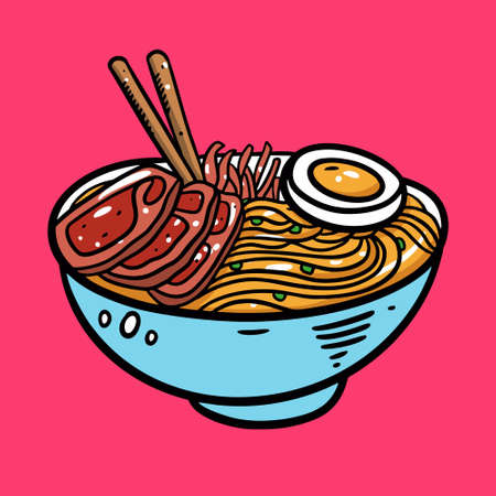 Japanese Ramen. Asian soup and Noodle. Cartoon style vector illustration. Isolated on pink background. Design for poster, banner, print and web.  イラスト・ベクター素材