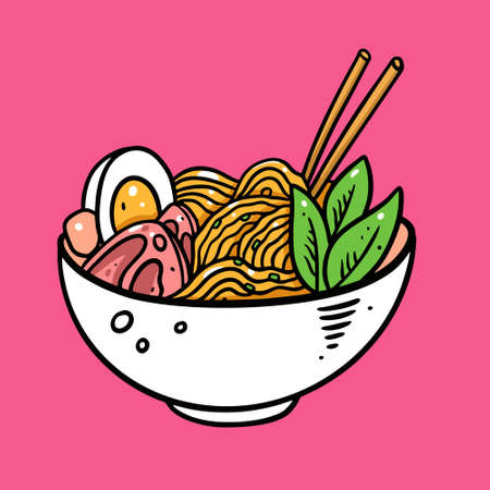 Japanese Ramen. Hand drawn colorful vector illustration. Isolated on soft pink background. Design for menu, cafe and asian restaurant.  イラスト・ベクター素材