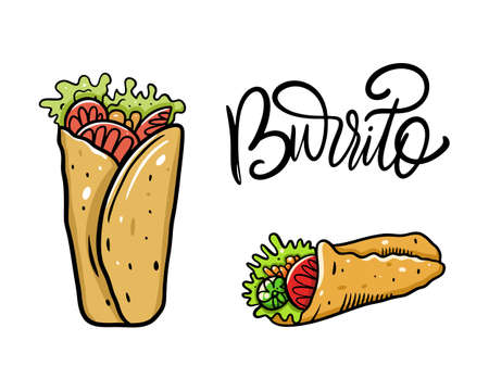 Burrito set. Cartoon illustration. Isolated on white background. Design for poster, banner, print and web.