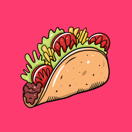 Taco vector illustration. Mexican food. Cartoon style. Isolated on pink background. Design for poster, banner, menu, cafe and web.
