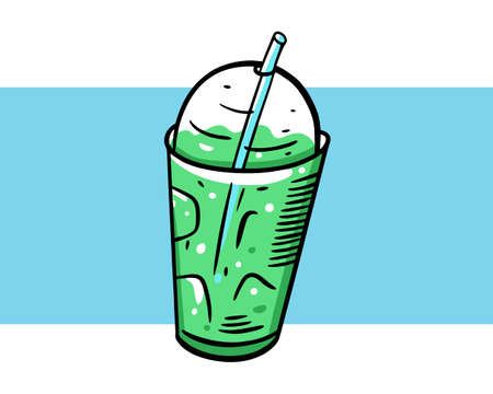 Detox green cocktail summer drink. Colorful illustration. Isolated on blue background. Design for poster, banner, print and web.