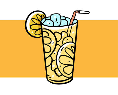 Lemonade fresh summer drink. Colorful vector illustration. Isolated on yellow background. Design for poster, banner, print and web.  イラスト・ベクター素材