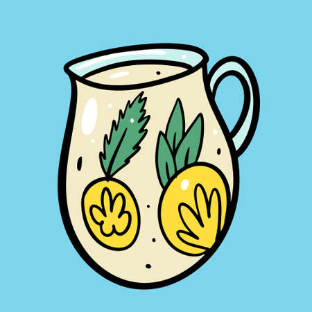 Summer Lemonade drink. Organic product. Hand drawn lemon, mint, jar and lettering. Cartoon style. Vector illustration. Isolated on blue background. Design for menu cafe and bar.