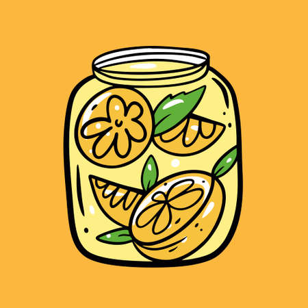 Lemonade in jar. Colorful vector illustration. Isolated on yellow background. Design for poster, banner, print and web.
