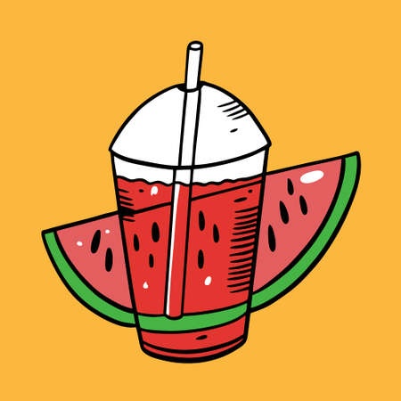 Watermelon summer drink. Plastic cup. Colorful vector illustration. Isolated on yellow background. Design for poster, banner, print and web.