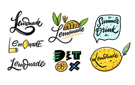 Lemonade hand drawn lettering set. Calligraphy and typography sign. Organic product. Cartoon style. Vector illustration. Isolated on white background. Design for menu cafe and bar.  イラスト・ベクター素材
