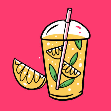 Lemonade in plastic cup. Summer Drink. So fresh. Colorful vector illustration. Isolated on pink background. Design for poster, banner, print and web.
