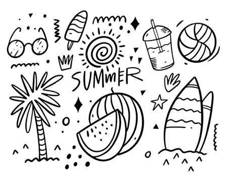 Summer doodles set collection. Palm tree, glasses, surf access, drink, ball, ice cream and sun. Black color vector illustration.