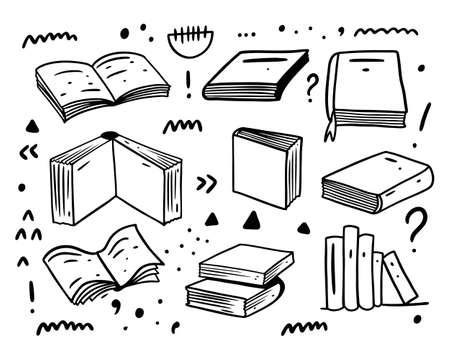 Books hand drawn doodles big set collection. Black color vector illustration. Line art.