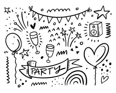 Happy Bithday and party doodles set collection. Black color vector illustration. Line art.