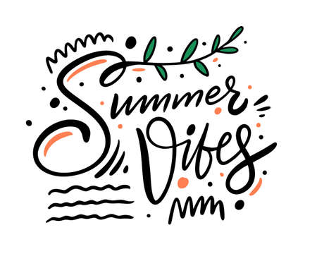 Summer Vibes modern typohraphy phrase. Colorful vector illustration.