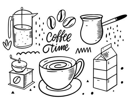 Coffee doodles elements. up, milk, coffee grinder and coffee beans. Black color vector illustration. Line art.