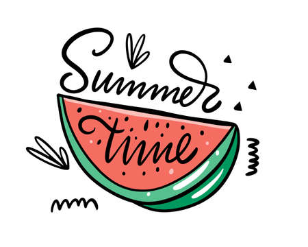 Summer Time modern typography phrase and watermelon colorful vector illustration.  イラスト・ベクター素材