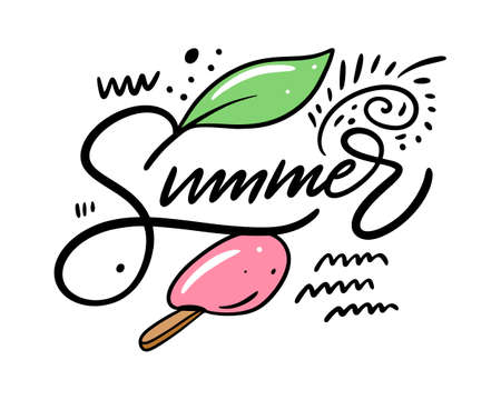 Summer phrase and ice cream colorful vector illustration.