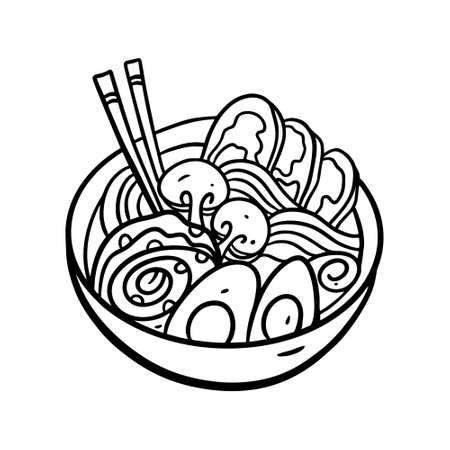 Wok asisan noodles. Hand drawn vector illustration. Black color line art. Isolated on white background.  イラスト・ベクター素材
