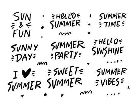 Summer Set Phrases. Modern typography lettering. Black colorvector illustration. Isolated on white background.