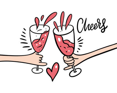 Hands with pink wine glasses. Cartoon style vector illustration. Cheers lettering phrase. Isolated on white background. Design for banner, poster, greeting cards, web, invitation to party.