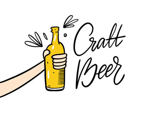 Hand with beer bottle. Cartoon style vector illustration. Craft beer lettering phrase. Isolated on white background. Design for banner, poster, greeting cards, web, invitation to party.  イラスト・ベクター素材
