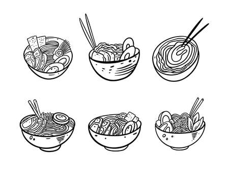 Japanese Noodles set. Black color outline style vector illustration. Isolated on white background. Design for poster, banner, print and web.