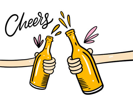 Hands with beer bottles. Cartoon style vector illustration. Cheers lettering phrase. Isolated on white background. Design for banner, poster, greeting cards, web, invitation to party.