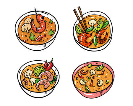 Tom Yum set. Cartoon vector illustration. Isolated on white background. Design for poster, banner, menu, cafe and web.